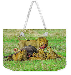 Lions With Cape Buffalo Kill Weekender Tote Bag