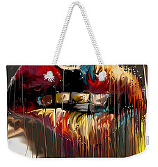 Weekender Tote Bag featuring the digital art Lips Say It All by Darren Cannell