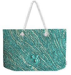 Liquid Aqua Silver Abstract Weekender Tote Bag