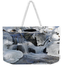 Weekender Tote Bag featuring the photograph Winter Waterfall In Maine by Glenn Gordon