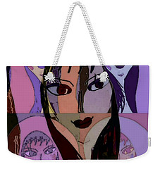 Weekender Tote Bag featuring the mixed media Lisa by Ann Calvo