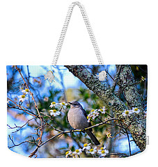 Weekender Tote Bag featuring the photograph Listen To The Mockingbird by Linda Brown