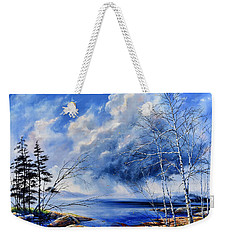 Weekender Tote Bag featuring the painting Listen To The Rhythm by Hanne Lore Koehler