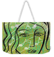 Weekender Tote Bag featuring the painting Listening To Music by Leon Zernitsky