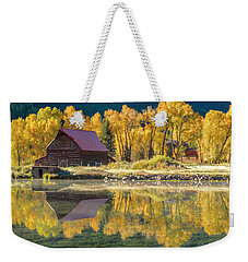 Little Barn By The Lake Weekender Tote Bag by Teri Virbickis