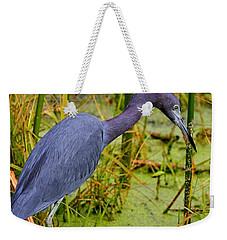Little Blue Heron Feeding Weekender Tote Bag