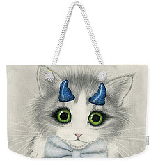 Weekender Tote Bag featuring the drawing Little Blue Horns - Devil Kitten by Carrie Hawks