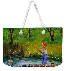 Little Boy Fishing Weekender Tote Bag