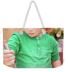Little Boy Making Christmas Cookies Weekender Tote Bag