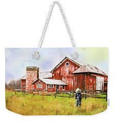 Little Boy On The Farm Weekender Tote Bag by Mary Timman