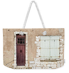 Weekender Tote Bag featuring the photograph Little Brown Door by Melanie Alexandra Price
