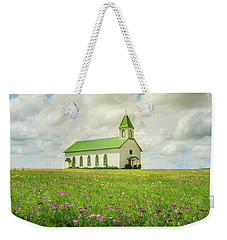 Weekender Tote Bag featuring the photograph Little Church On Hill Of Wildflowers by Robert Frederick