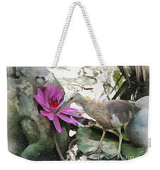 Weekender Tote Bag featuring the painting Little Egret by Sergey Lukashin
