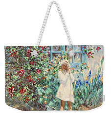 Little Girl With Roses  Weekender Tote Bag by Pierre Van Dijk
