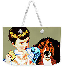 Weekender Tote Bag featuring the painting Little Girl With Hungry Mutt by Marian Cates
