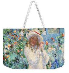 Little Girl With Roses / Detail Weekender Tote Bag by Pierre Van Dijk
