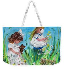 Little Girls Picking Flowers Weekender Tote Bag