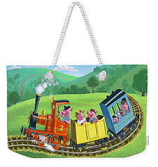 Little Happy Pigs On Train Journey Weekender Tote Bag