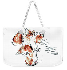 Weekender Tote Bag featuring the mixed media Little Merph - Cats by Carolyn Weltman