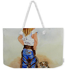 Little Miss Big Britches Weekender Tote Bag by Jimmy Smith