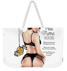 Weekender Tote Bag featuring the digital art Little Miss Muffet by Brian Gibbs