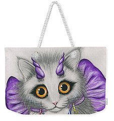 Weekender Tote Bag featuring the mixed media Little Purple Horns - 1980s Cute Devil Kitten by Carrie Hawks