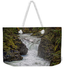 Weekender Tote Bag featuring the photograph Little Qualicum Lower Falls by Randy Hall