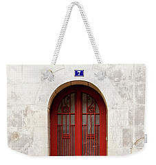 Weekender Tote Bag featuring the photograph Little Red Door by Melanie Alexandra Price