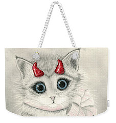 Weekender Tote Bag featuring the drawing Little Red Horns - Cute Devil Kitten by Carrie Hawks