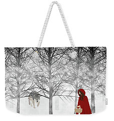 Weekender Tote Bag featuring the digital art Little Red by Nancy Levan