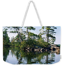 Weekender Tote Bag featuring the photograph Little Rocky Pine Tree Island On Parker Pond by Joy Nichols