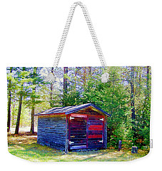 Weekender Tote Bag featuring the photograph Little Shed At Farm by Shirley Moravec