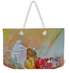 Weekender Tote Bag featuring the painting Little Still Life by Beverley Harper Tinsley