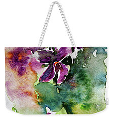 Weekender Tote Bag featuring the painting Little Violet by Kovacs Anna Brigitta