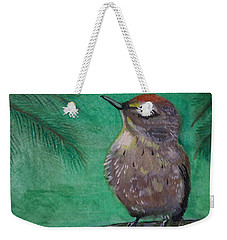 Weekender Tote Bag featuring the painting Little Warbler by Leslie Allen