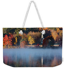 Weekender Tote Bag featuring the photograph Little White Church On Crystal Lake by Jeff Folger