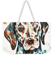 Weekender Tote Bag featuring the painting Liver-spotted Dalmatian by Zaira Dzhaubaeva