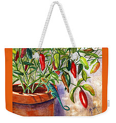 Weekender Tote Bag featuring the painting Lizard In Hot Sauce by Marilyn Smith