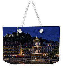 Weekender Tote Bag featuring the photograph Ljubljana Night Scene #3 - Slovenia by Stuart Litoff