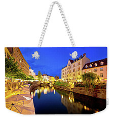 Ljubljanica River Waterfront In Ljubljana Evening View Weekender Tote Bag by Brch Photography