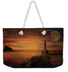 Llight House By Moonlight Weekender Tote Bag