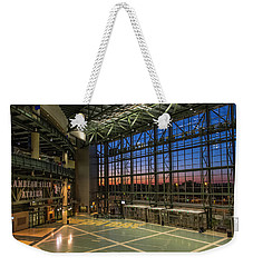 Weekender Tote Bag featuring the photograph Lambeau Field Atrium Sunset by Joel Witmeyer
