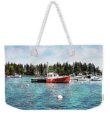 Weekender Tote Bag featuring the digital art Lobster By Night - Sleep By Day - Camden Maine by Joseph Hendrix