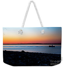 Lobster Boat In Maine Weekender Tote Bag by Diane Diederich