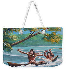 Locals Rowing In The Amazon River Weekender Tote Bag