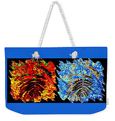 Weekender Tote Bag featuring the mixed media   Locust Leaves Abstract Fusion by Will Borden