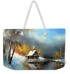 Lodge In The Winter Forest Weekender Tote Bag