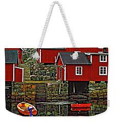 Lofoten Fishing Huts Weekender Tote Bag by Steve Harrington