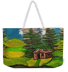 Weekender Tote Bag featuring the painting Log Cabin by Brindha Naveen