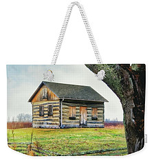 Weekender Tote Bag featuring the photograph Log Cabin - Paradise Springs - Kettle Moraine State Forest by Jennifer Rondinelli Reilly - Fine Art Photography
